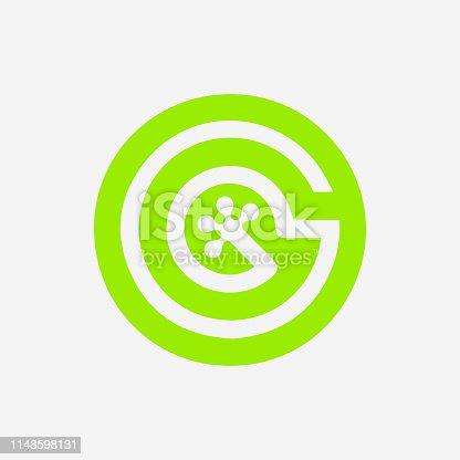 Gecko Foot Print Logo. Premium Company Icon. Letter G. Green Gecko Vector Symbol.