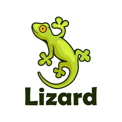 gecko lizard character isolated on white background.  vector illustration