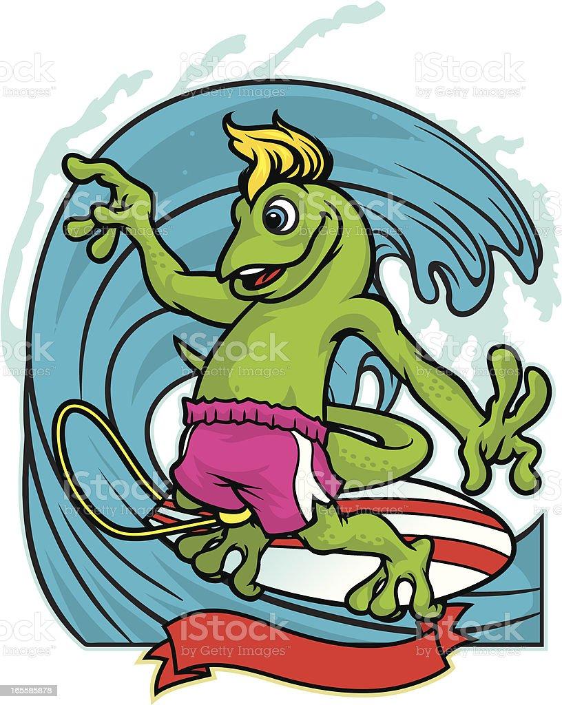 Gecko Surf vector art illustration