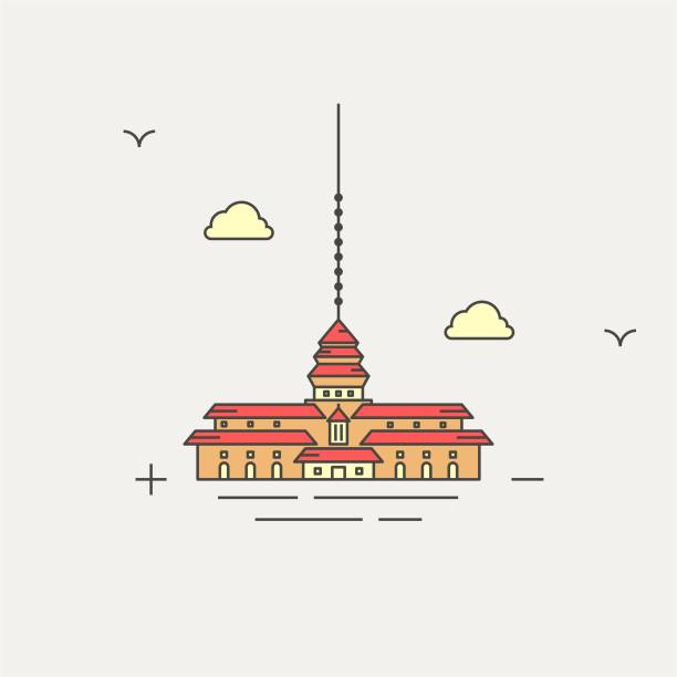 gedung sate satay building bandung icon vector eps - gedung sate stock illustrations, clip art, cartoons, & icons