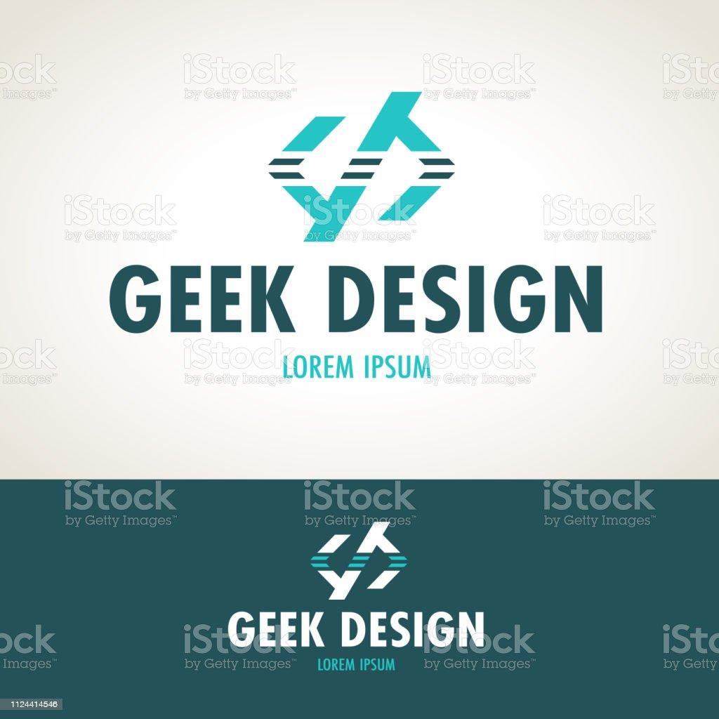 Geek emblem. Programmers creative icon