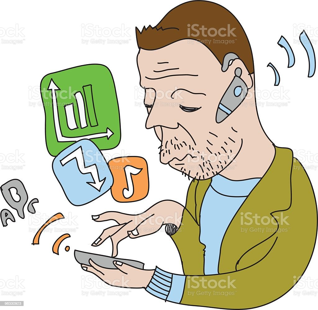 Geek guy and his phone royalty-free stock vector art