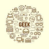 geek minimal thin line icons set