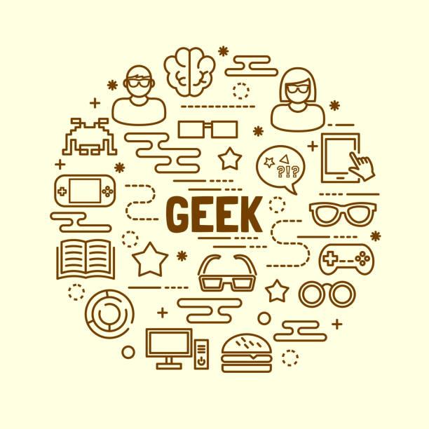geek minimal thin line icons set - nerd stock-grafiken, -clipart, -cartoons und -symbole