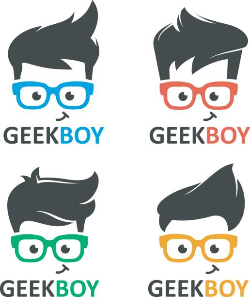 geek oder nerd logo-vektor-set - nerd stock-grafiken, -clipart, -cartoons und -symbole