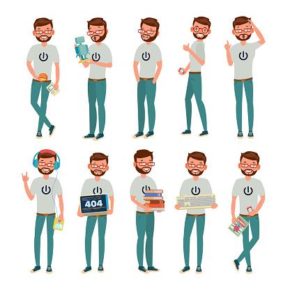 Geek Vector. Man. Isolated Flat Cartoon Character Illustration