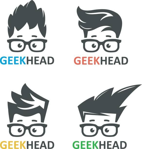 Geeks and nerds vector set of logos Cartoon boy's face nerd with glasses. Set of vector icons of computer geek. Logo for educational or scientific applications and websites. nerd stock illustrations