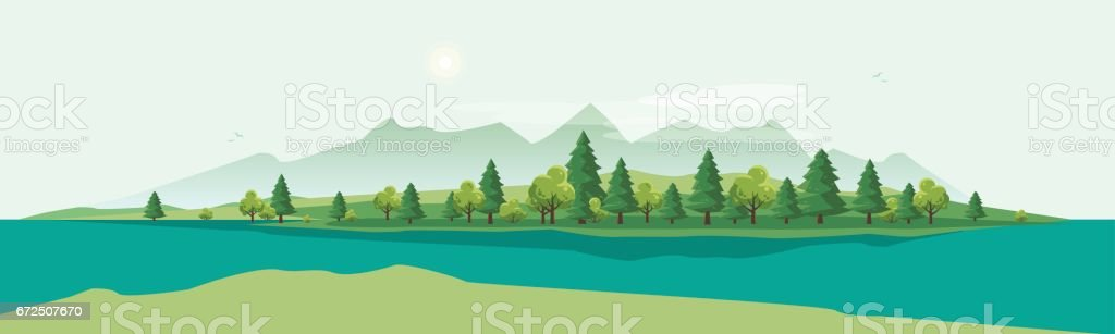 Geen Mountain Landscape with Trees Nature Background vector art illustration