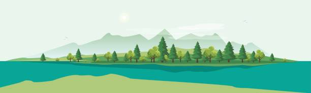 ilustraciones, imágenes clip art, dibujos animados e iconos de stock de geen mountain landscape with trees nature background - lago