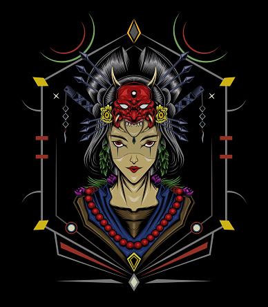 Geisha Artwork. Japanese design template.