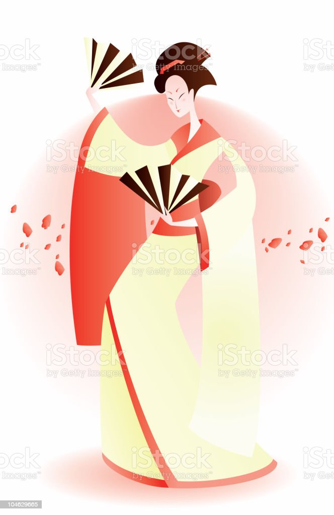 geisha dance royalty-free stock vector art