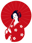 Geisha in kimono with a red umbrella in her hands. Vector illustration. Red circle as a symbol of Japan.