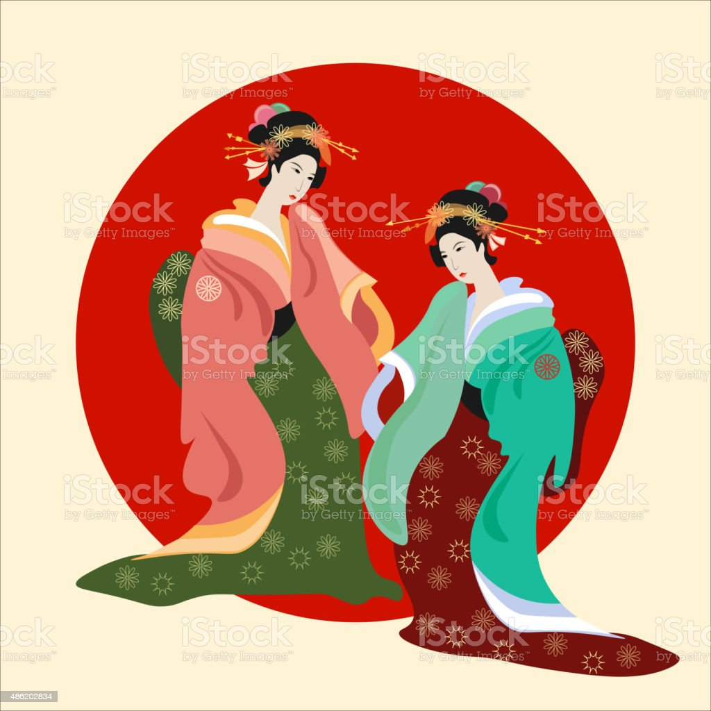 Geisha, Japanese culture, vector illustration vector art illustration