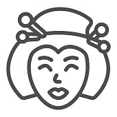 istock Geisha, Japanese woman traditional hairstyle line icon, asian culture concept, face vector sign on white background, outline style icon for mobile concept and web design. Vector graphics. 1336011219