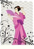 geisha in purple kimono, with Japanese pattern background
