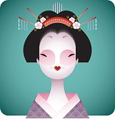 Stylized Japanese woman in traditional costume. Everything is organized into 2 layers.