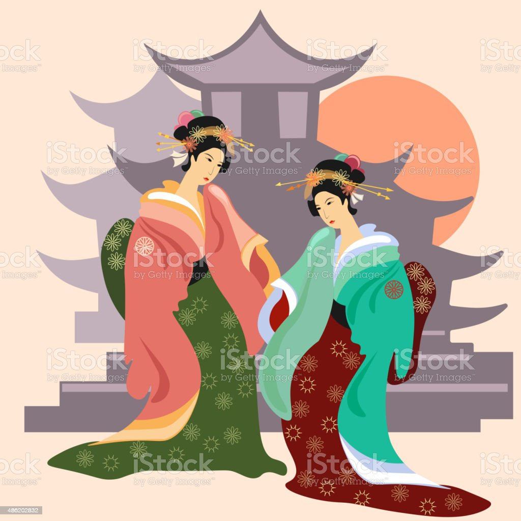 Geisha, vector illustration vector art illustration