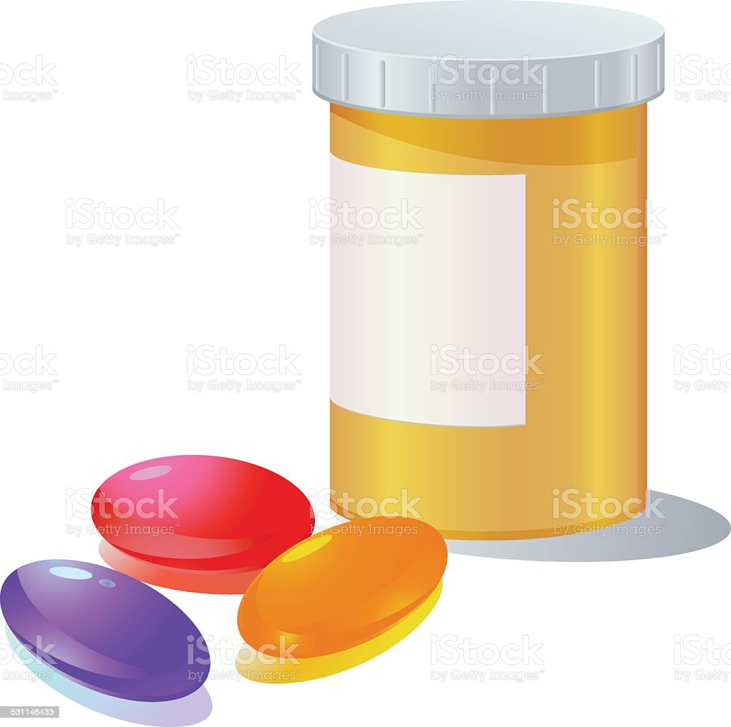 Gel capsule and medicine container vector art illustration