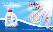 Gel laundry detergent advertising template with flower or floral border. High detailed vector illustration.