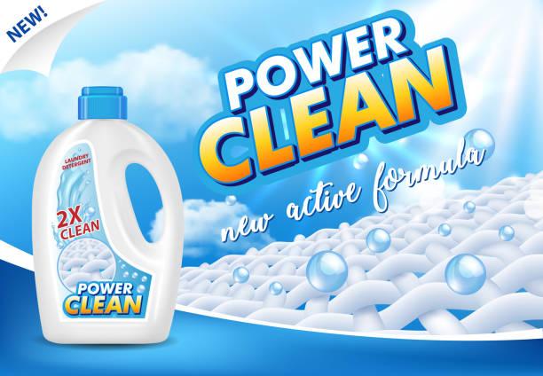 gel oder flüssigkeit wäsche waschmittel werbung vektor-illustration - weichspüler stock-grafiken, -clipart, -cartoons und -symbole