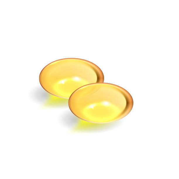 bildbanksillustrationer, clip art samt tecknat material och ikoner med gel piller, vitamin d, e, omega3, fiskolja - omega 3