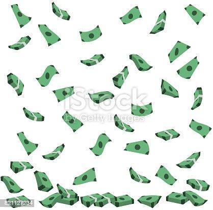 Geldregen in Form von fallenden Geldscheinen.