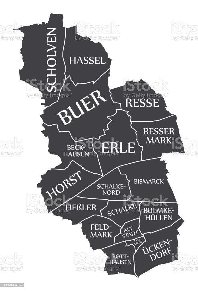 Gelsenkirchen City Map Germany De Labelled Black Illustration Stock