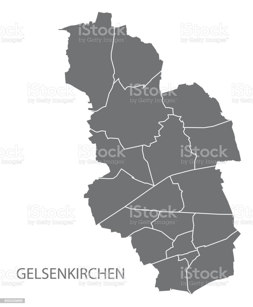 Gelsenkirchen City Map With Boroughs Grey Illustration Silhouette