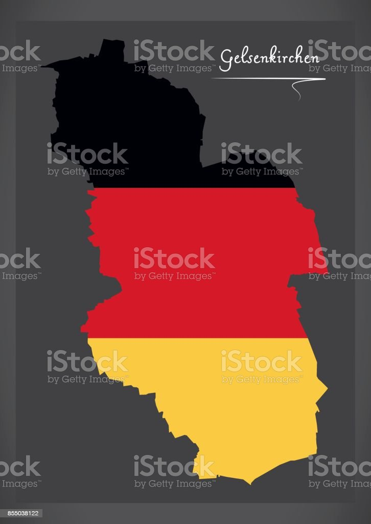 Gelsenkirchen Germany Map.Gelsenkirchen Map With German National Flag Illustration Stock