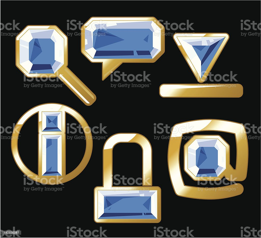 Gem icons with sapphire and gold royalty-free gem icons with sapphire and gold stock vector art & more images of 'at' symbol