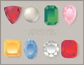 A Vector Collection of gem stones in different cuts and colors