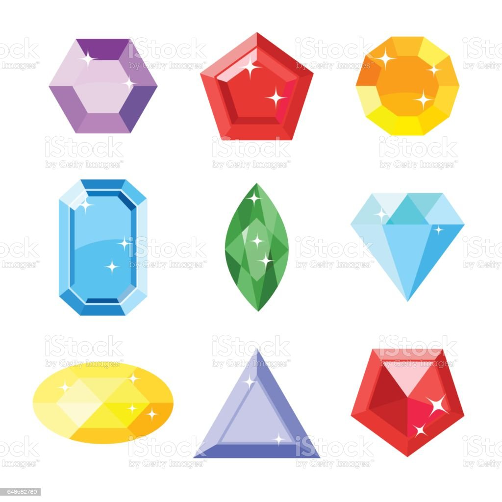 Gem set. Icon gem. Ruby, emerald, sapphire, diamond, brilliant, aquamarine different shapes, isolated on the white background. Vector jewels. vector art illustration