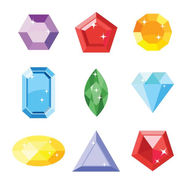 gem set. icon gem. ruby, emerald, sapphire, diamond, brilliant, aquamarine different shapes, isolated on the white background. vector jewels. - gemstone stock illustrations, clip art, cartoons, & icons