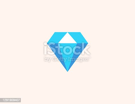 istock Gem Stone vector icon. Isolated Diamond, Gem Stone, Jewellery flat, colored illustration symbol - Vector 1291909407
