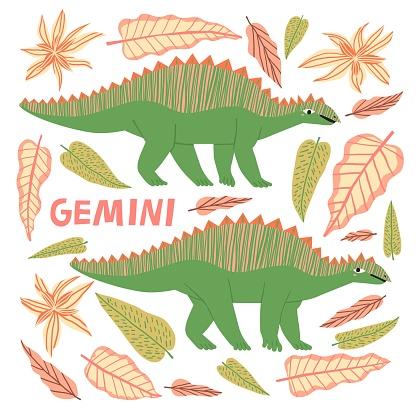 Gemini dinosaur cartoon character vector illustration.