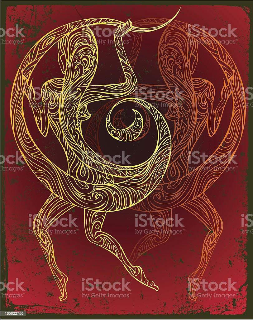 gemini flame moon dancer vector art illustration