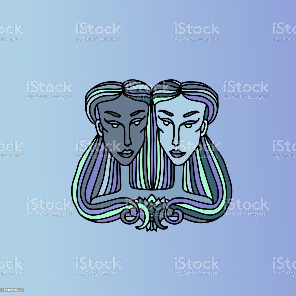 Gemini Mädchen Porträt Zeichen Des Tierkreises Einfache Blaue ...