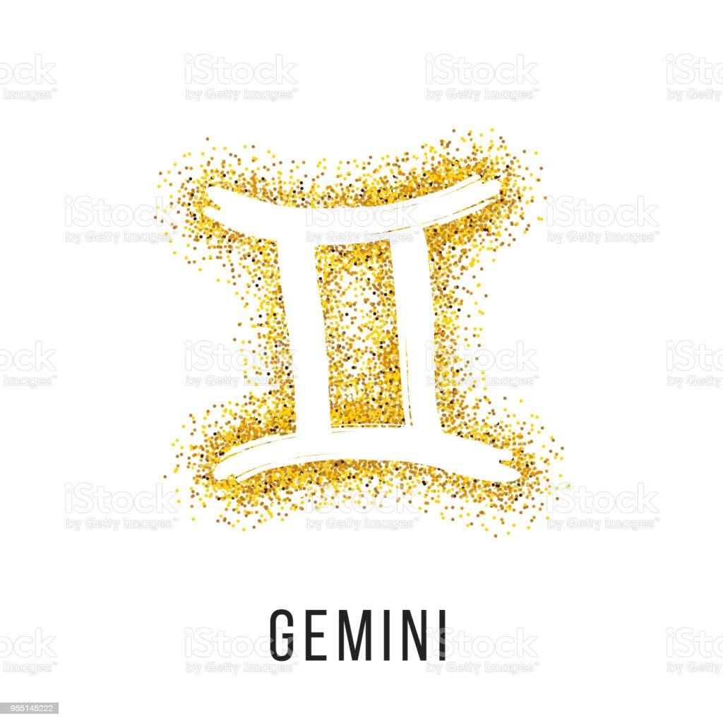 Gemini Gold Glitter Vector Zodiac Sign Stock Illustration