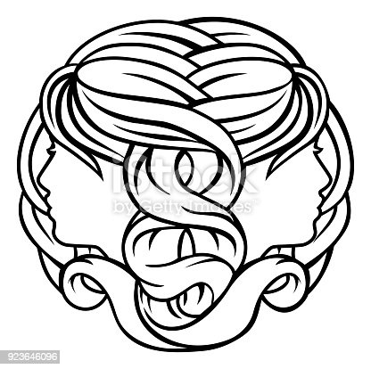 Gemini Twins Astrology Horoscope Zodiac Sign Stock Vector Art More