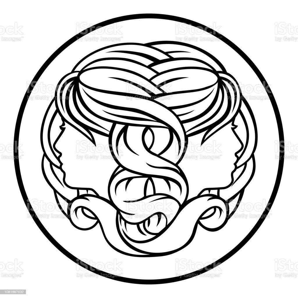 Gemini Twins Zodiac Horoscope Astrology Sign vector art illustration