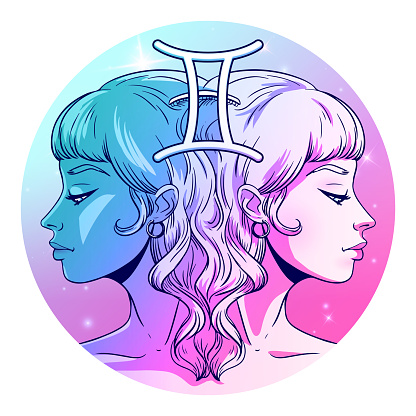 Gemini zodiac sign artwork, beautiful girl face, horoscope symbol, star sign, vector illustration