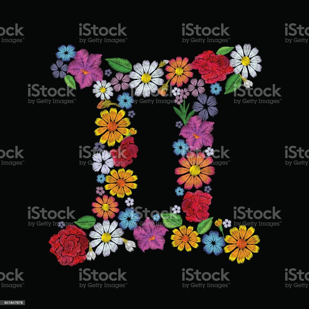 Gemini Zodiac Sign Flower Arrangement Horoscope Astrology Fashion Floral Embroidery Patch Design Template Texture Stitch Effect Textile Print On Black Background Vector Illustration Stock Illustration Download Image Now Istock