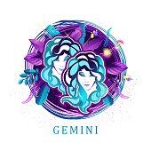 Gemini zodiac sign white background