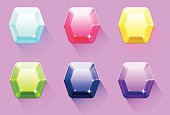Six hexagons gem in different color, for app and mobile game.