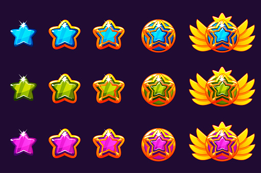 Gems award progress. Golden amulets set with star jewelry. Vector icons assets for game design.