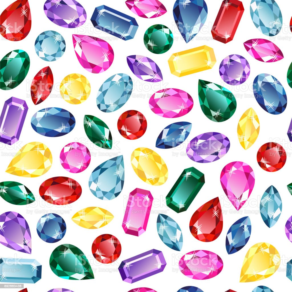 Gems background seamless pattern vector art illustration