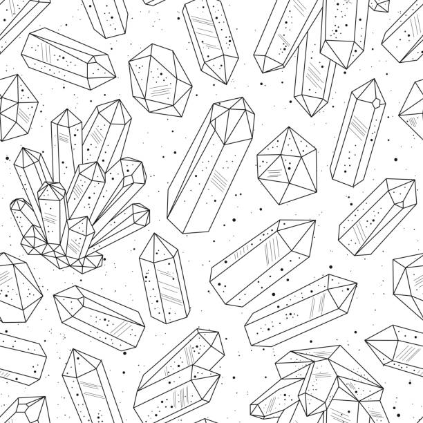 Bекторная иллюстрация Gems, crystals black and white pattern vector
