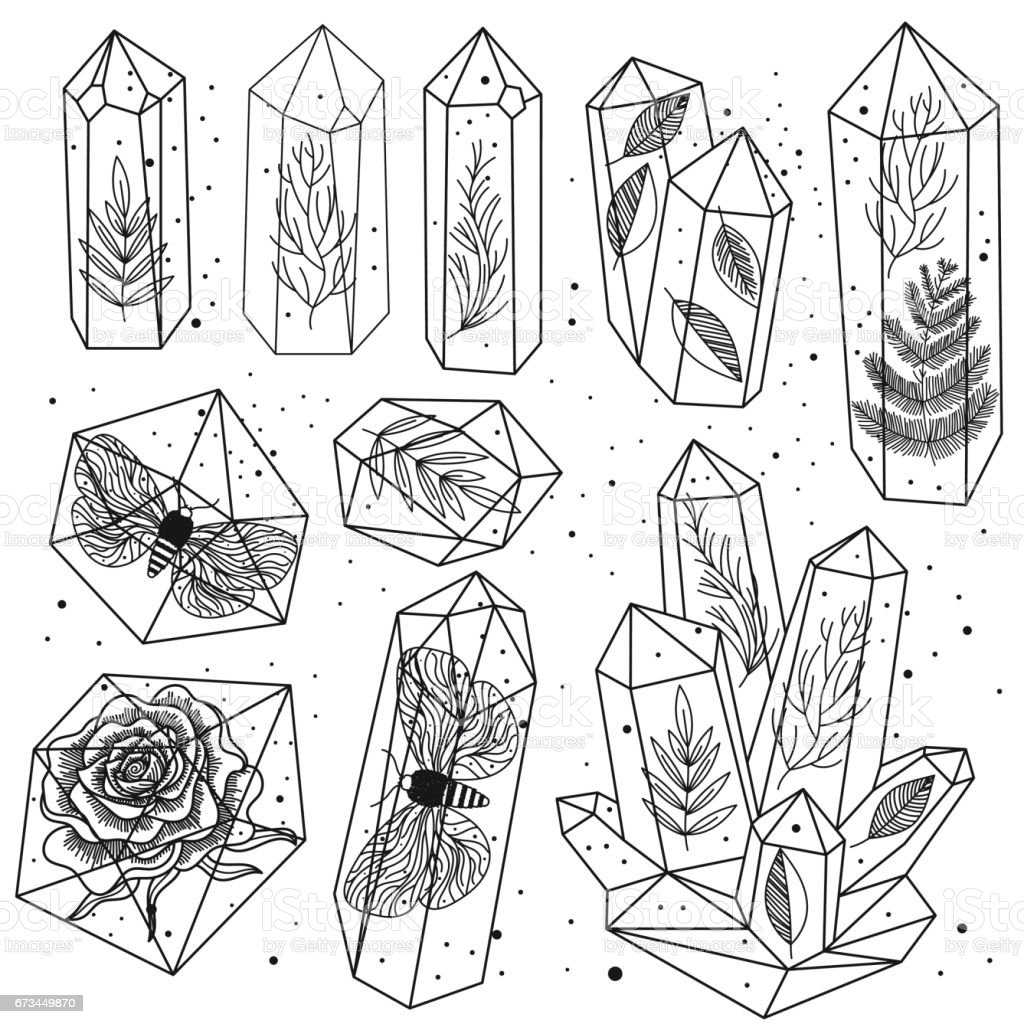 Gems crystals line art vector stock vector art more for Gem coloring pages