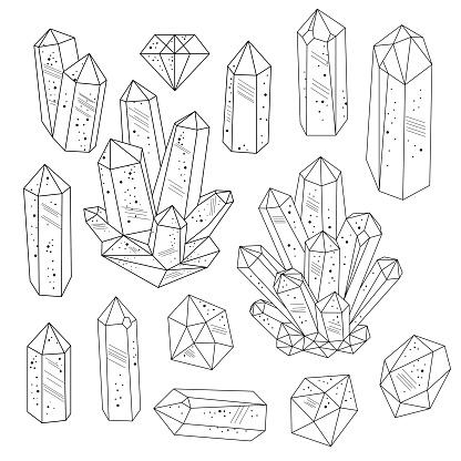 Gems, crystals line art vector