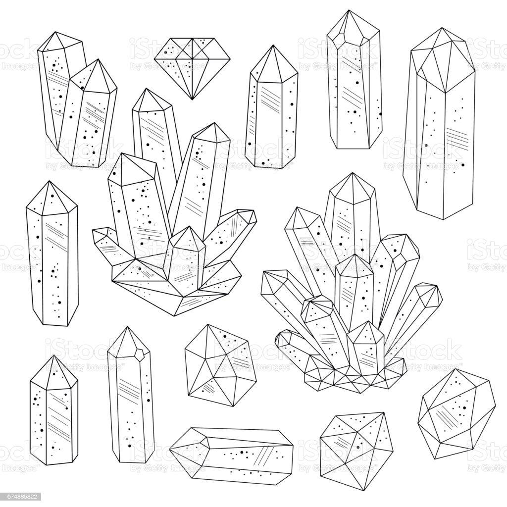 Gems, crystals line art vector vector art illustration